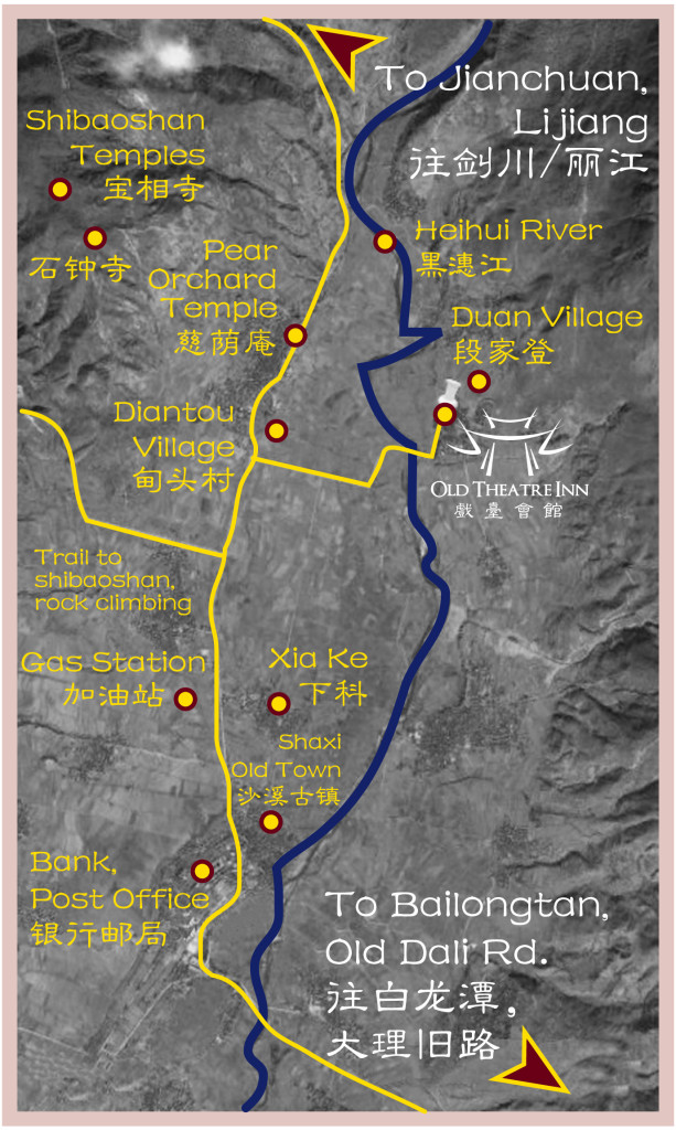 Shaxi Yunnan map with points of interest from Old Theatre Inn