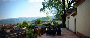 Pear Blossom Organic Restaurant terrace - Shaxi Yunnan China