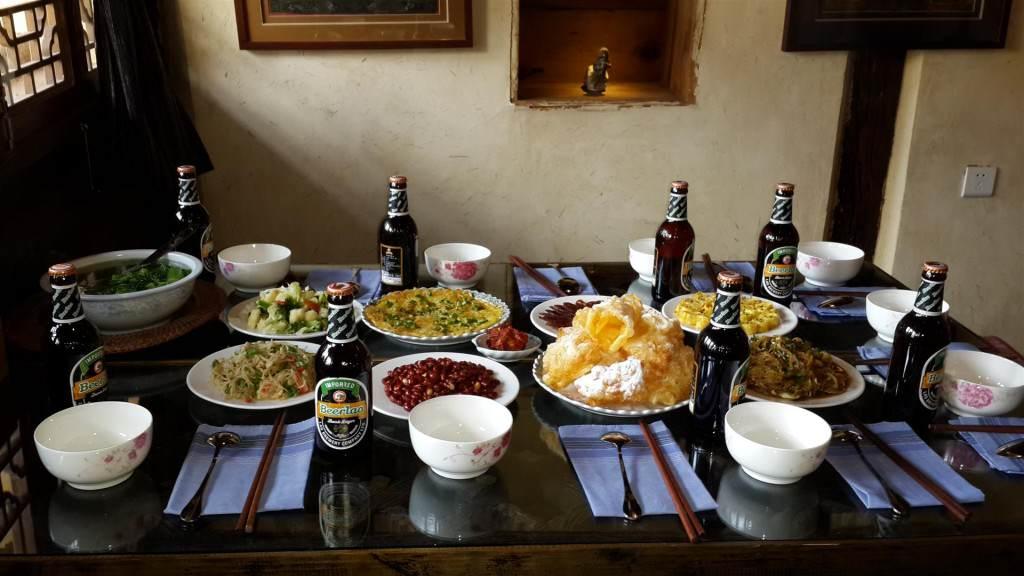 Lunch at Shaxi Pear Orchard Temple organic restaurant - Yunnan China